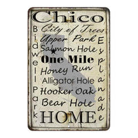 White Vintage Chico California Landmarks Gift 8x12 Metal Sign 108120066003