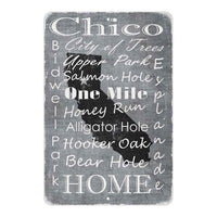 Grey Chico California Landmarks Gift 8x12 Metal Sign 108120066007