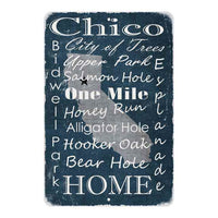 Blue Chico California Landmarks Gift 8x12 Metal Sign 108120066008