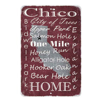 Red Chico California Landmarks Gift 8x12 Metal Sign 108120066009
