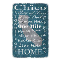 Turquoise Chico California Landmarks Gift 8x12 Metal Sign 108120066010