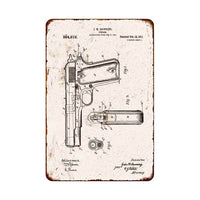 1911 Pistol Patent Sign Vintage Wall Décor Signs Art Decorations Tin Gift
