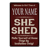 YOUR NAME She Shed Red Sign Personalized Lady Cave 8x12 Metal Sign 108120088001
