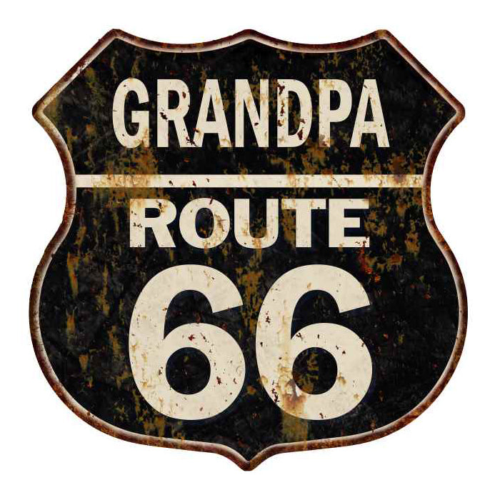 GRANDPA Route 66 Personalized Shield Metal Sign Man Cave Gift 211110004003