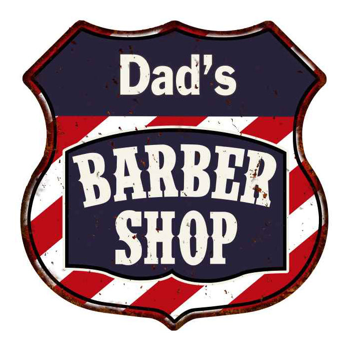 Dad's Barber Shop Personalized Shield Metal Sign Hair Gift 211110020002