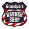 Grandpa's Barber Shop Personalized Shield Metal Sign Hair Gift 211110020003