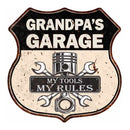 GRANDPA'S Garage My Tools My Rules Personalized 12x12 Metal Sign 211110024003