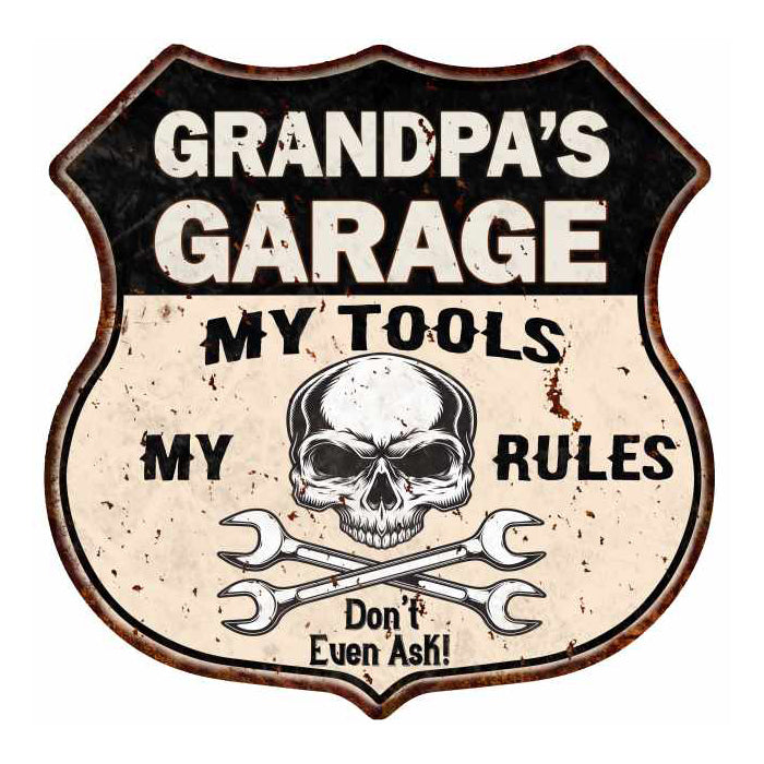 GRANDPA'S Garage My Tools My Rules Skull 12x12 Metal Sign 211110025003