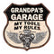 GRANDPA'S Garage My Tools My Rules V8 Wings 12x12 Metal Sign 211110026003