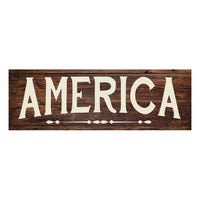 America Rustic Looking Wood Sign Wall Décor Gift 6 x 18 Wood Sign B3-06180028055