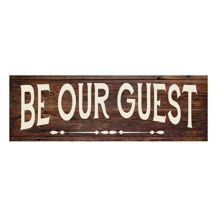 Be Our Guest Rustic Looking Wood Sign Wall Décor Gift 6 x 18 Wood Sign B3-06180028089