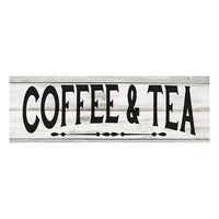Coffee & Tea Chic White Farmhouse Wood Sign Wall Décor Gift 6 x 18 Wood Sign B3-06180028131