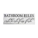 Bathroom Rules, Wash Brush Floss… Farmhouse Restroom Home Decor Wood Sign Gift