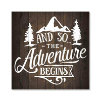 Adventure Begins Inpiration Camping Rustic Looking Wood Sign Wall Décor Gift 8 x 8 Wood Sign B3-08080061002