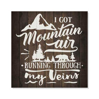 Mountain Air Inpiration Camping Rustic Looking Wood Sign Wall Décor Gift 8 x 8 Wood Sign B3-08080061009