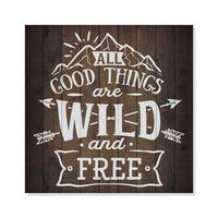 Wild and Free Inpiration Camping Rustic Looking Wood Sign Wall Décor Gift 8 x 8 Wood Sign B3-08080061011