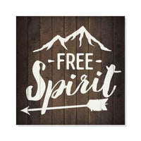 Free Spirit Inpiration Camping Rustic Looking Wood Sign Wall Décor Gift 8 x 8 Wood Sign B3-08080061016