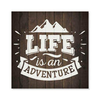 Life in an Adventure Inpiration Camping Rustic Looking Wood Sign Wall Décor Gift 8 x 8 Wood Sign B3-08080061017