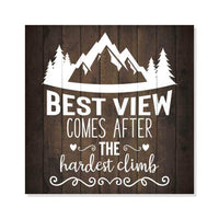 Best View Hiking Inpiration Camping Rustic Looking Wood Sign Wall Décor Gift 8 x 8 Wood Sign B3-08080061022