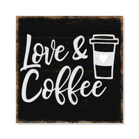 Love & Coffee Rustic Looking Inspiration Cafe Wood Sign Wall Décor Gift 8 x 8 Wood Sign B3-08080061045