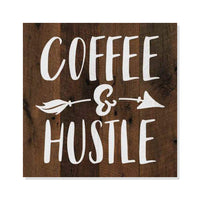 Coffee and Hustle Rustic Looking Café Inspiration Wood Sign Wall Décor Gift 8 x 8 Wood Sign B3-08080061047