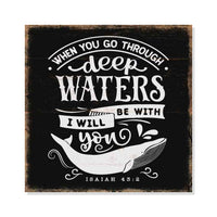 Deep Waters Scripture Rustic Looking Inspiration Faith Wood Sign Wall Décor 8 x 8 Wood Sign B3-08080061070