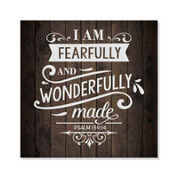 Wonderfully Made Psalm Rustic Looking Inspiration Faith Wood Sign Wall Décor 8 x 8 Wood Sign B3-08080061071