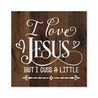Love Jesus Funny Rustic Looking Inspiration Faith Wood Sign Wall Décor 8 x 8 Wood Sign B3-08080061073