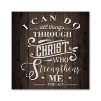 I can do All Things in Christ, Phil Rustic Looking Faith Wood Sign Wall Décor 8 x 8 Wood Sign B3-08080061081