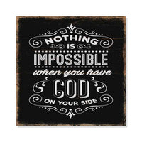 Nothing is Impossible in God Scripture Rustic Looking Faith Wood Sign Wall Décor 8 x 8 Wood Sign B3-08080061083