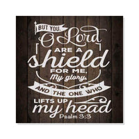 O Lord You are a Shield, Psalm Scripture Rustic Looking Faith Wood Wall Décor 8 x 8 Wood Sign B3-08080061086