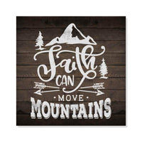 Faith Can move Mountains Scripture Rustic Looking Wood Sign Wall Décor 8 x 8 Wood Sign B3-08080061093