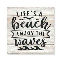 Life a Beach, Enjoy the Waves Rustic Looking White Wood Sign Wall Décor Gift 8 x 8 Wood Sign B3-08080062002