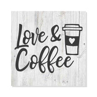 Love & Coffee Rustic Looking Farmhouse Cafe White Wood Sign Wall Décor Gift 8 x 8 Wood Sign B3-08080062007