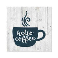 Hello Coffee Rustic Looking Funny Inspiration White Wood Sign Wall Décor Gift 8 x 8 Wood Sign B3-08080062010