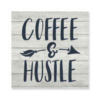Coffee & Hustle Rustic Looking Inspiration Funny White Wood Sign Wall Décor Gift 8 x 8 Wood Sign B3-08080062011