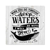 Going Through Deep Waters Isaiah Rustic Looking Faith Wood Sign Wall Décor Gift 8 x 8 Wood Sign B3-08080062051