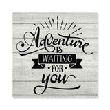 Adventure is Waiting Rustic Looking Camping Outdoors Wood Sign Wall Décor 8 x 8 Wood Sign B3-08080062052