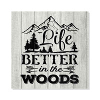 Life is Better in the Woods Rustic Looking Camping Outdoors Wood Sign Wall Décor 8 x 8 Wood Sign B3-08080062067