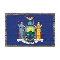 New York State Flag Wood Sign Rustic Wall Décor Gift 12x18 B3-12180051033