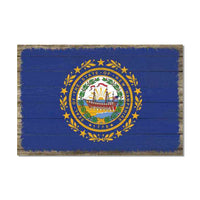 New Hampshire State Flag Wood Sign Rustic Wall Décor Gift 12x18 B3-12180051036