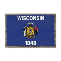Wisconsin State Flag Wood Sign Rustic Wall Décor Gift 12x18 B3-12180051050