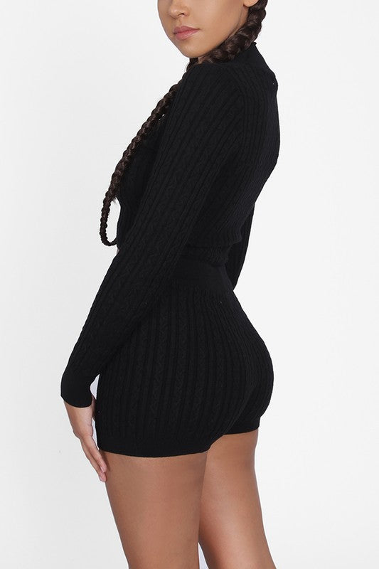 The Raquel Knit Short Set - Black