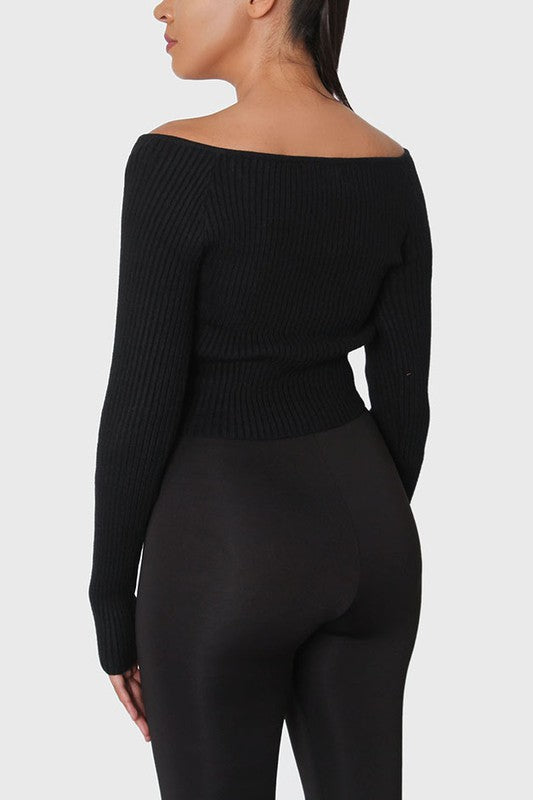 The Ruched Crop Knit Sweater - Black