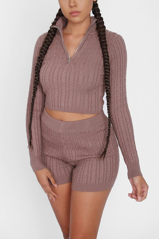 The Raquel Knit Short Set - Mocha