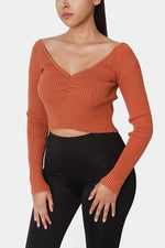 The Ruched Crop Knit Sweater - Rust