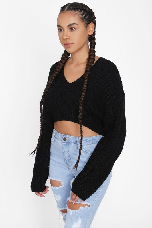 The Cassey Crop Sweater - Black