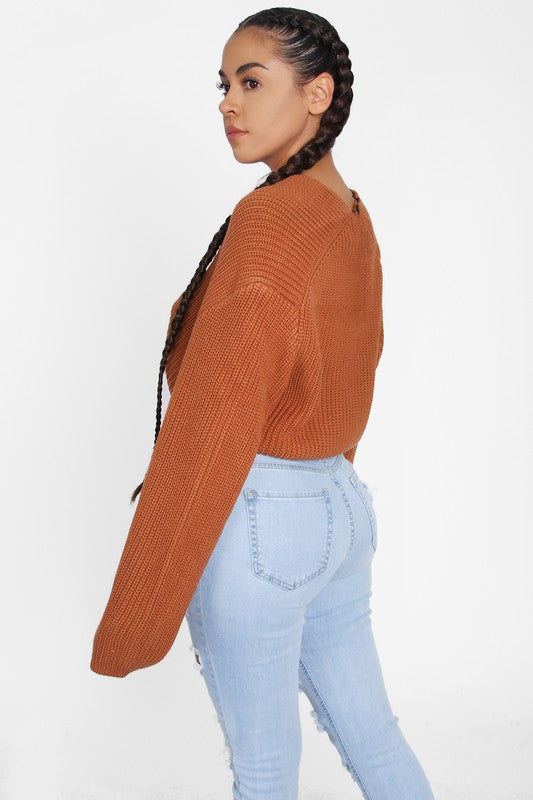 The Cassey Crop Sweater - Rust