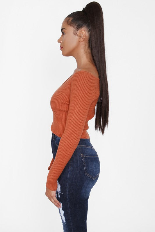 The Bridgette Crop Sweater Top - Rust