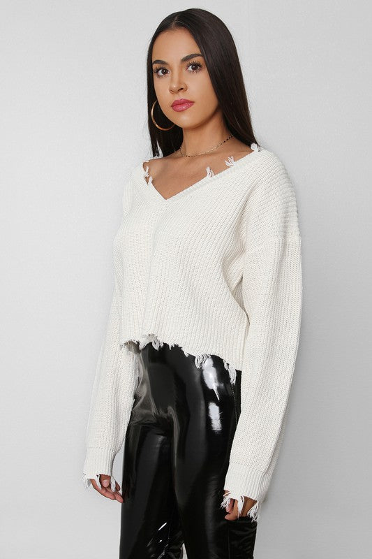 The Raw Edge Crop Sweater - White
